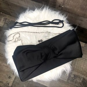 Kate Landry Black Satin Bow Clutch with Strap